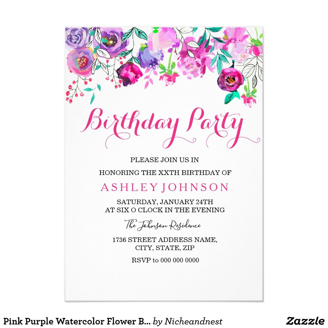 Pink Purple Watercolor Flower Birthday Party Invitation | birthday ...