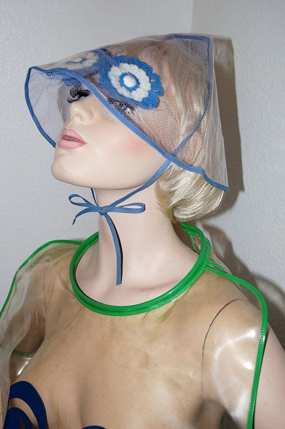 9779d307aa6 60s Mod Clear Vinyl Rain Hat Bonnet   1960s Clear Plastic Futuristic Space  Age Rain Helmet on Etsy