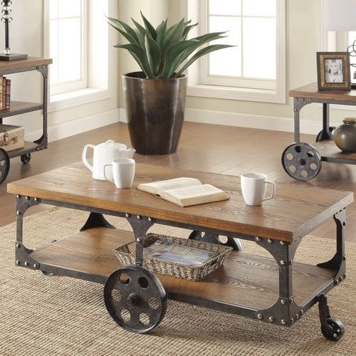 Details about Industrial Coffee Table Cart Antique Factory Vintage ...