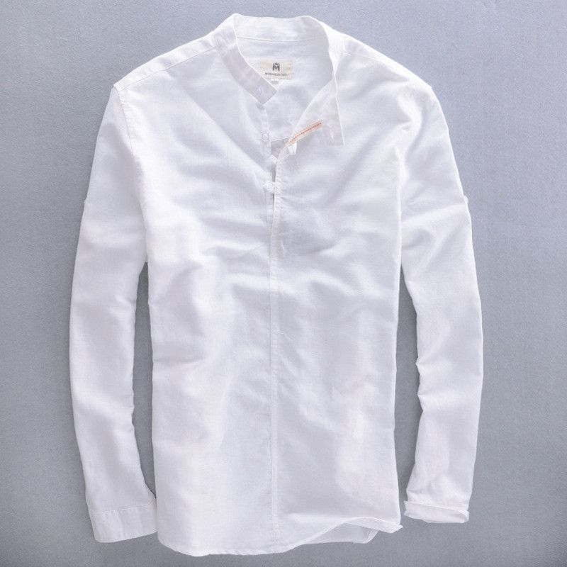 f149aa7b0f 2016 men s mandarin collar long sleeve white linen shirt men summer linen  cotton shirts men blue casual shirt male dress shirts