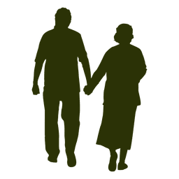 Old Couple Silhouette Couple Silhouette Silhouette Painting Silhouette