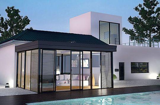 Une v randa pour une pi ce en plus veranda moderne for Agrandissement maison 45