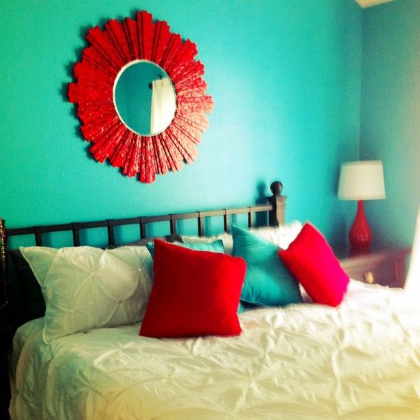 teal turquoise and red bedroom