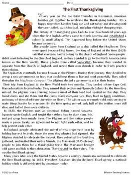 16++ Reading comprehension worksheets on thanksgiving Popular