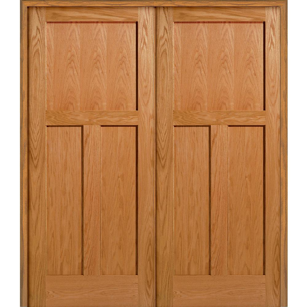 Milliken Millwork 61 5 In X 81 75 Unfinished 3 Panel Flat Red Oak Double Prehung Interior Door Wood