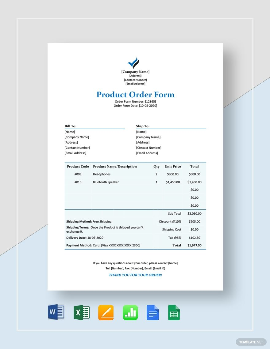 Product Order Form Template Word Excel Google Docs Apple Pages Google Sheets Apple Numbers Order Form Template Invoice Template Templates Purchase order template google docs