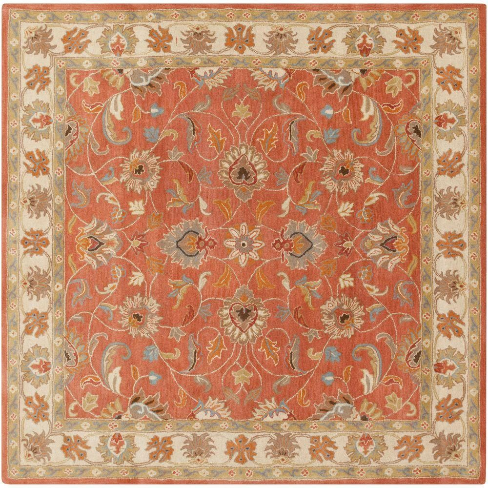 Artistic Weavers John Rust 10 Ft X 10 Ft Square Area Rug Red Area Rugs Traditional Area Rugs Rugs