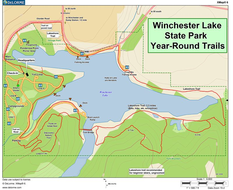 Winchester Idaho Map.Trail Map For Winchester Lake State Park Winchester Idaho Food