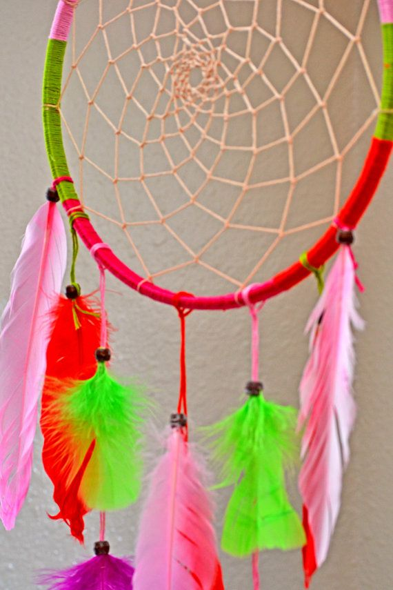 Pink Orange Green. Dreamcatcher by ColorInClouds on Etsy