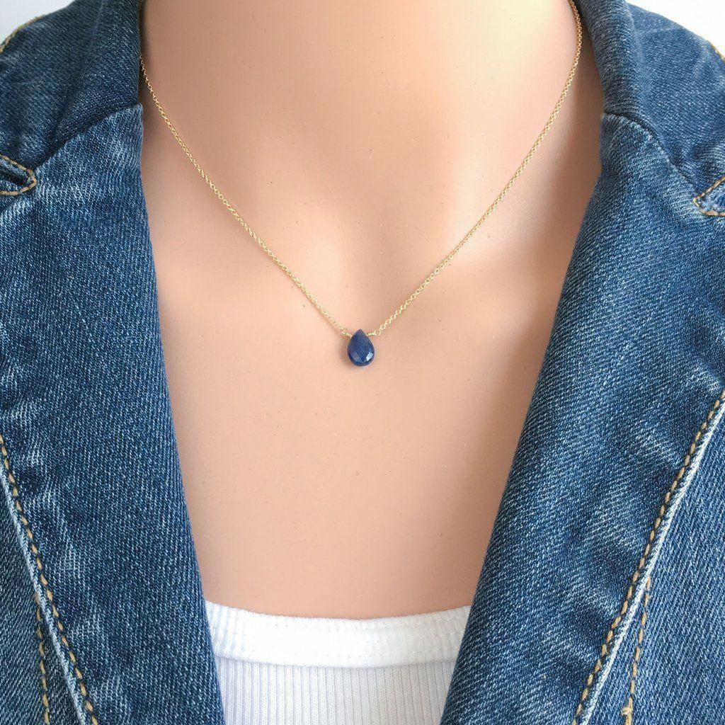 Dainty Sapphire Teardrop Necklace September Birthstone Sapphirenecklace Sapphire Necklace Simple Teardrop Necklace Jewelry Necklace Simple