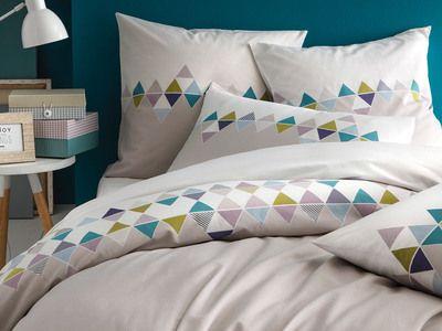Housse De Couette Bicolore 100 Coton Frise Triangles Scandinaves Gris Esprit Scandinave Housse De Couette Housse De Couette 240x260 Housse De Couette 220x240