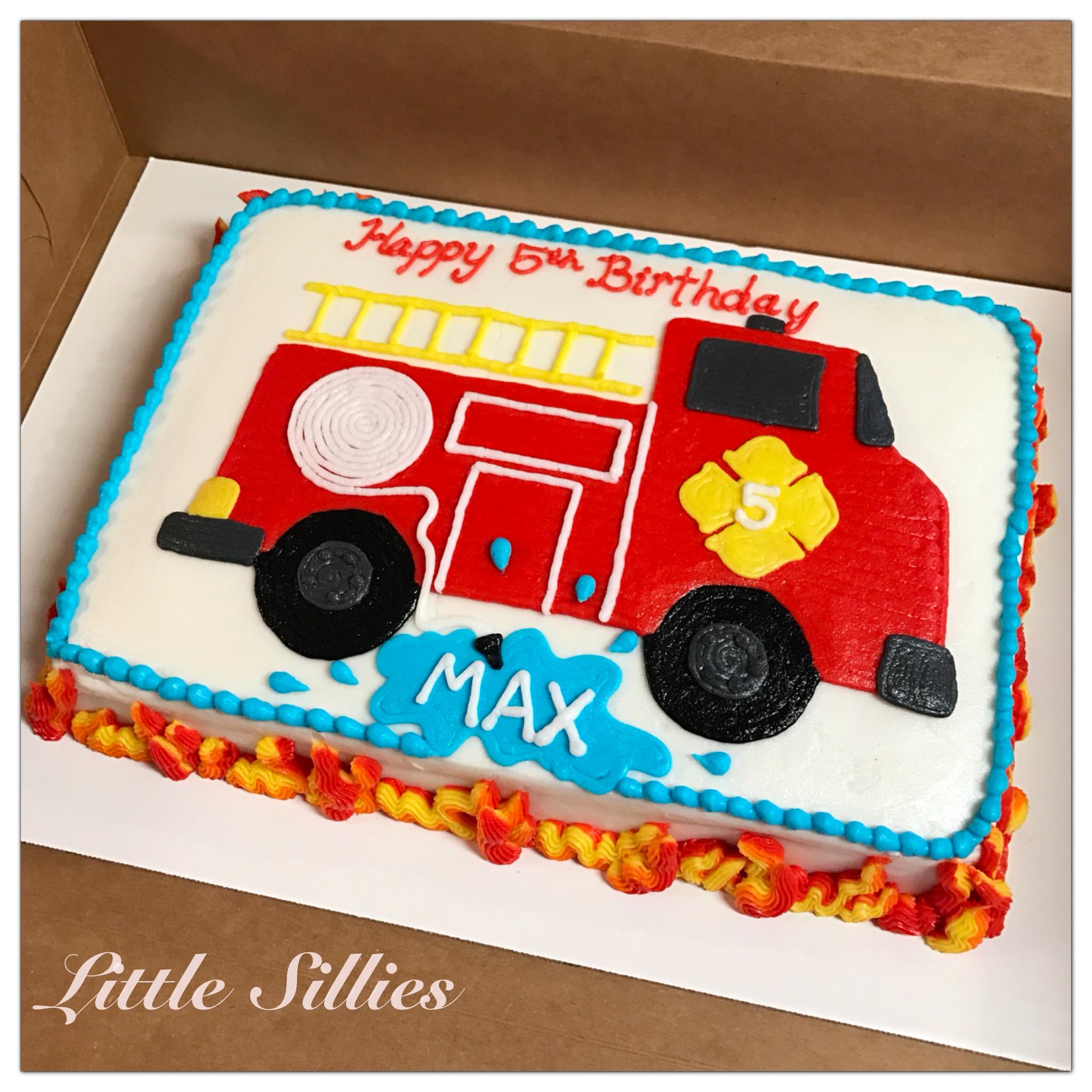 A Fire Truck Sheet Cake