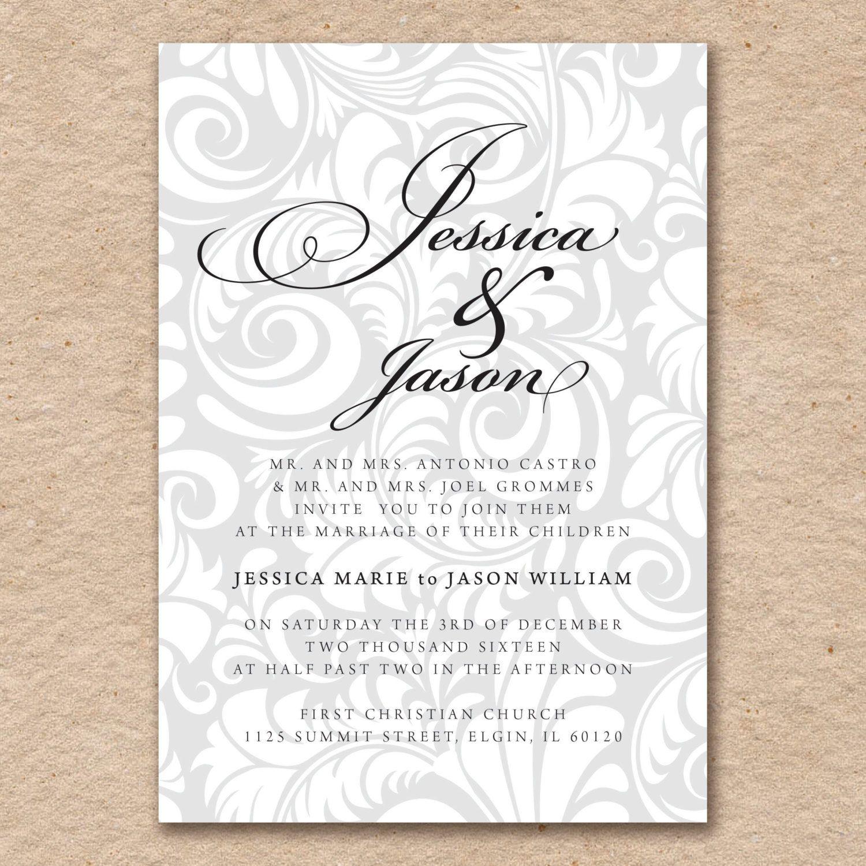 Silver Swirl Wedding Invitation Set, Pearlized Silver Paper, Digital ...
