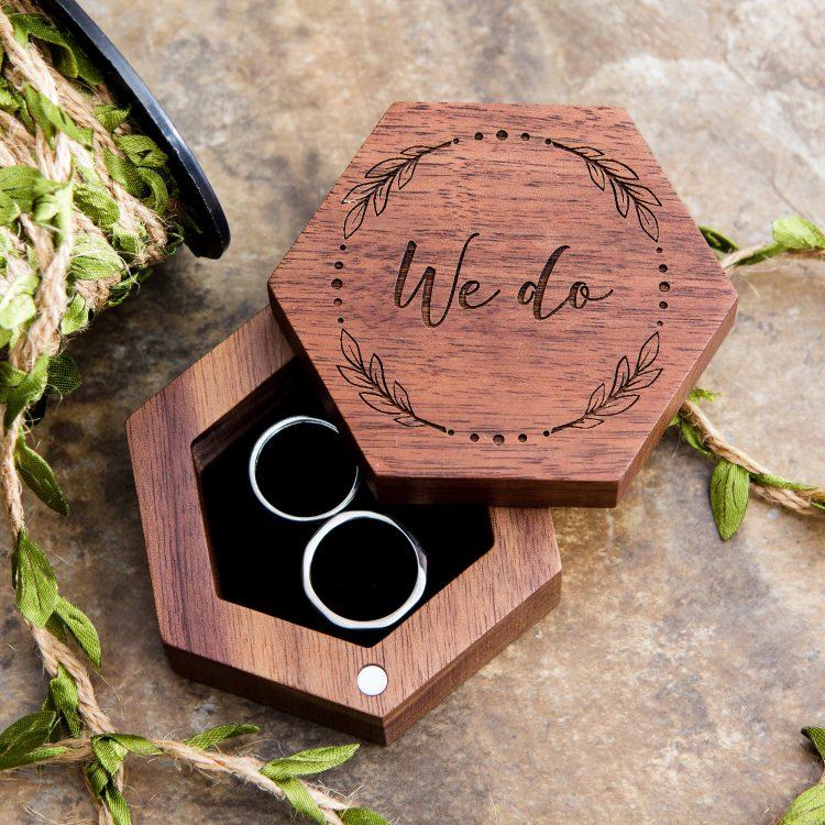 Hexagon Wood Ring Box Rustic wedding rings, Wedding ring