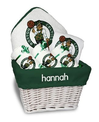 Our personalized boston celtics medium gift basket is a perfect our personalized boston celtics medium gift basket is a perfect basketball baby gift with 3 burp cloths a bib and a hooded towel set all personalized with negle Choice Image