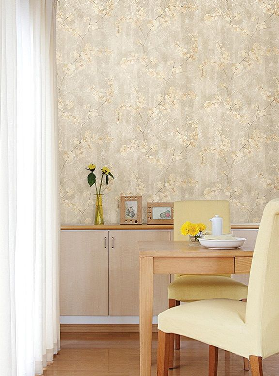 Yellow Silk Floral Wallpaper