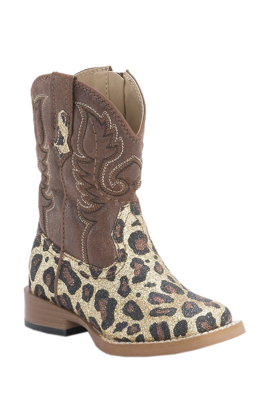 8afeaa2bc899 Roper Infant Brown Cheetah Glitter Square Toe Western Boots ...