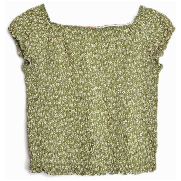 Vintage 90s Smocked Floral Top in Olive Cap Sleeve Top women's... (4175 ALL) ❤ liked on Polyvore featuring tops, cap sleeve top, smocked top, olive green top, floral print tops and flower print tops