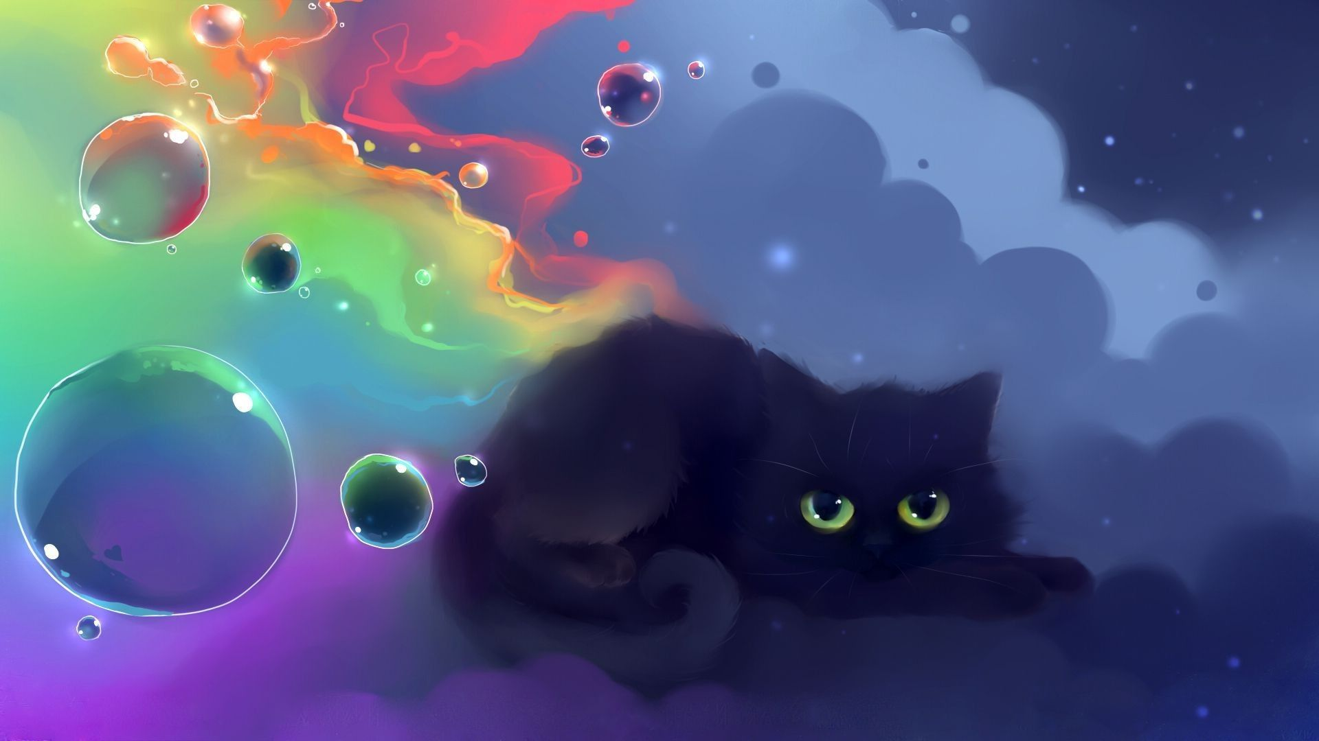 1920x1080 cute black cat wallpaper hvgj wallpapers in - Anime cat wallpaper ...