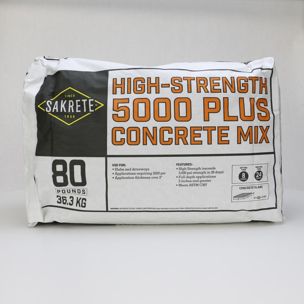 Sakrete 5000 Plus 80 Lb Concrete Mix 65200370 Concrete Mixes Concrete Concrete Mix Design