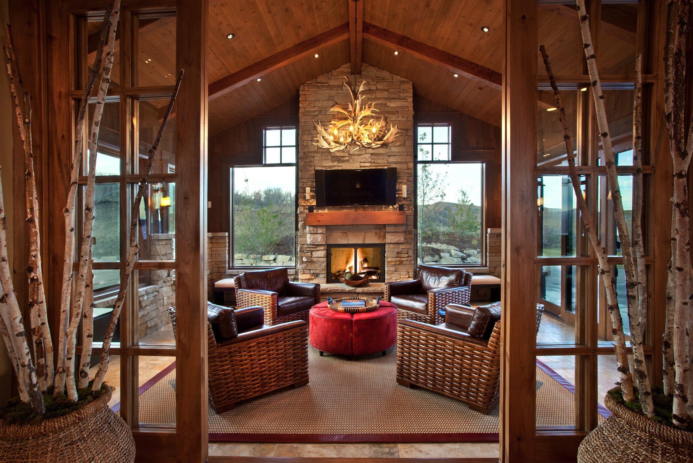 Indoor Outdoor Hearth Room Hearth Room Interior Design Rustic