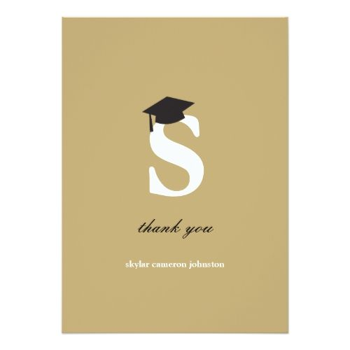 Letter S Modern Graduation Thank You Card