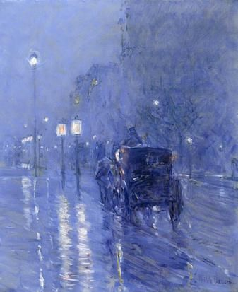 """Childe Hassam, """"Rainy Midnight,"""" The Museum of Fine Arts, Houston. In Hassam's paintings, forms never completely dissolve into light and color the way they do in Claude Monet's quintessential work."""