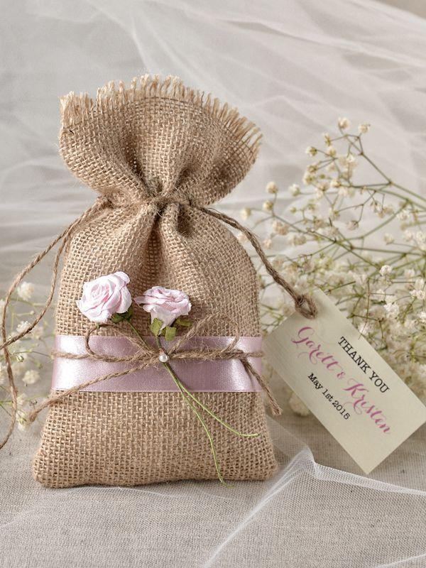 wedding Favors Rustic Burlap Favor Bag and tag