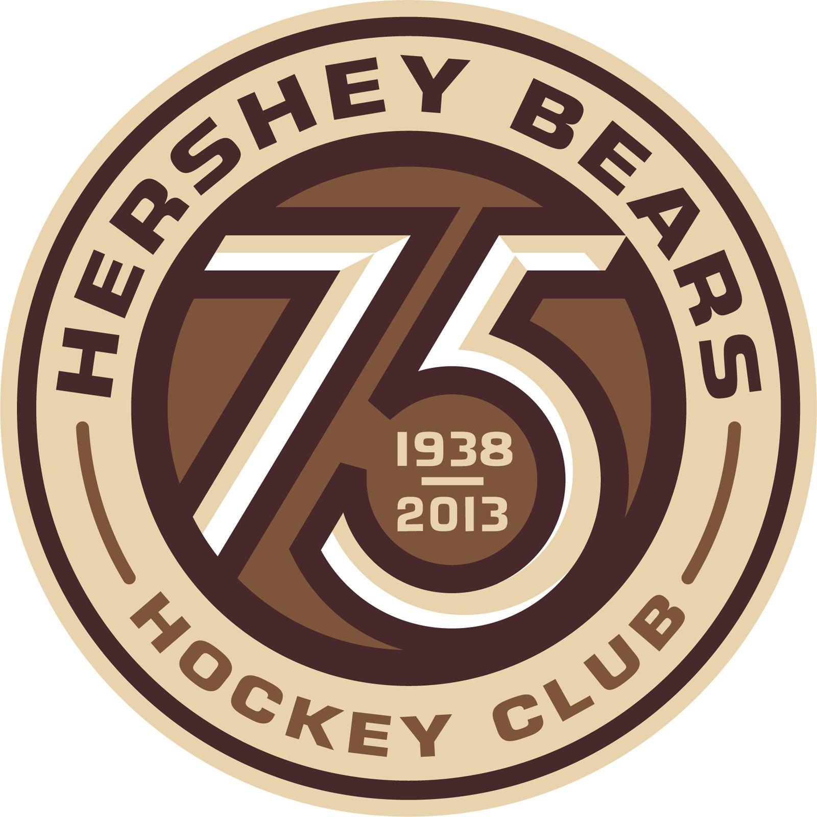 Celebrating Tradition And Excellence This Season In Hershey 75 Years Of Hershey Bears Hockey Hershey Bears Anniversary Logo Hockey Logos