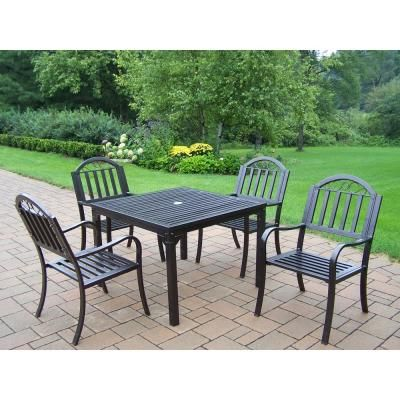 Oakland Living Rochester Hammertone Brown 5 Piece Metal Outdoor Dining Set Patio Outdoor Dining Set Outdoor Settings