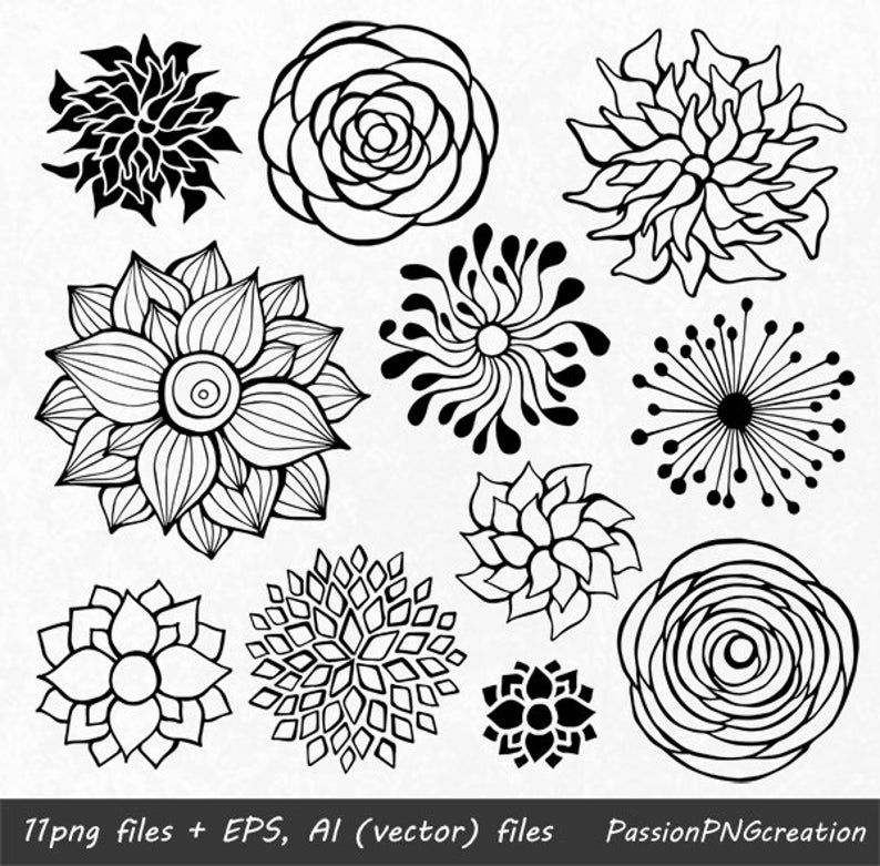 Big Set 44 Hand Drawn Flowers Clipart Flower Element Flower Silhouettes Png Eps Ai Vector Clip Art For Personal And Commercial Use Flower Drawing Hand Drawn Flowers Flower Silhouette