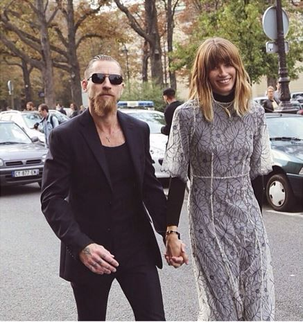 Style Editor at Harper's Bazar Veronika Heilbrunner spotted wearing new Ganni California Lace dress.