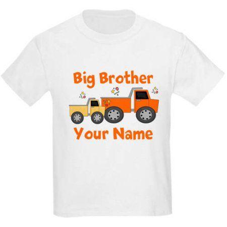 Cafepress Personalized Big Brother Truck Kids Light T-Shirt, Boy's, Size: Kids Medium, White