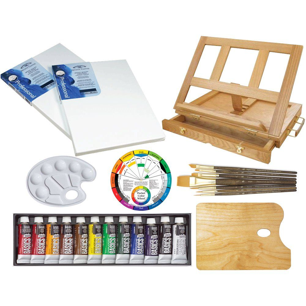 24 Acrylic Colors Brushes /& Everything to Get You Started Acrylic Painting Pad US Art Supply 72-Piece Deluxe Acrylic Painting Set with Stretched /& Canvas Panels Aluminum Floor Easel Table Easel