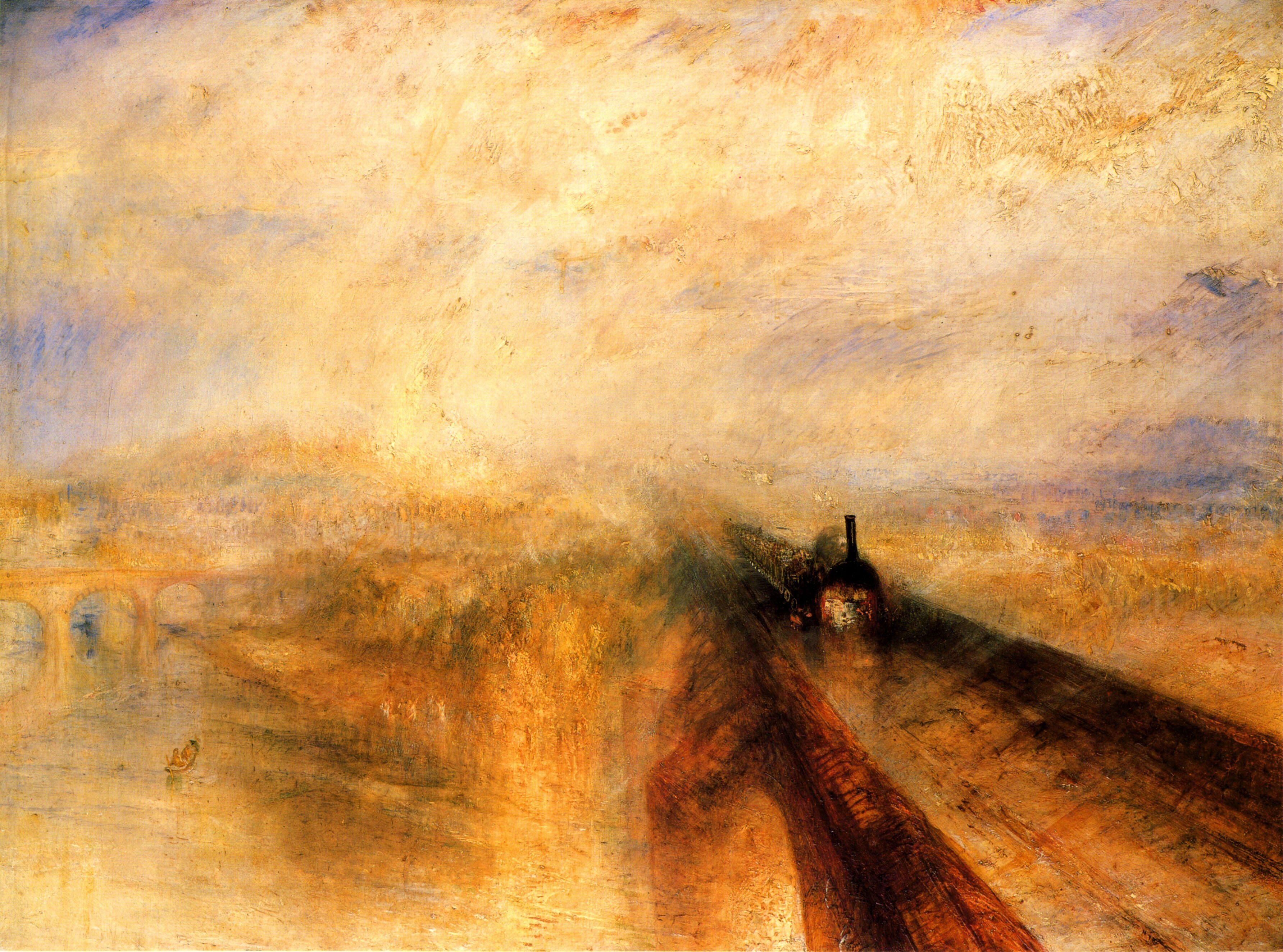 J. M. W. Turner, Pioggia, vapore e velocità. La grande ferrovia occidentale, 1844, Londra, National Gallery. La tela, quasi esclusivamente composta da toni gialli, sembra bucata dalla nera locomotiva, che sfreccia, simbolo delle conquiste della tecnica, e che pare imporsi su un insieme di immagini antiche e naturali, sopraffatte dalla dinamicità del treno.