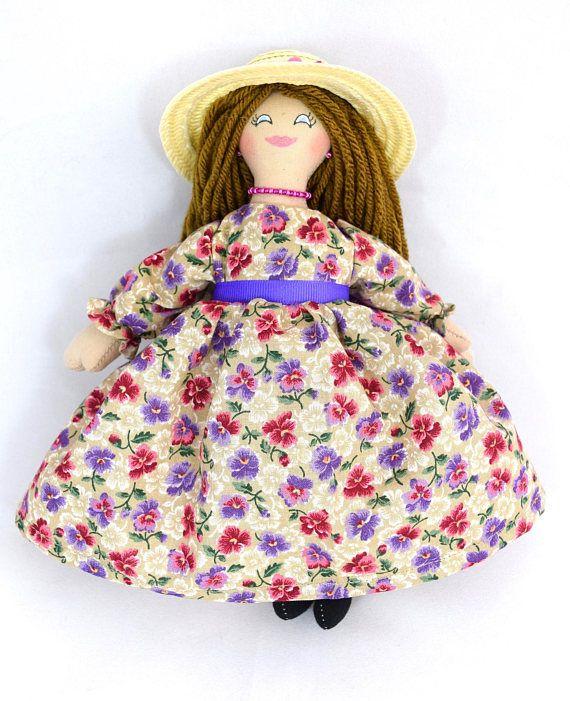 Fancy Doll in Flowered Dress  Art Doll  Toy Doll  Handmade