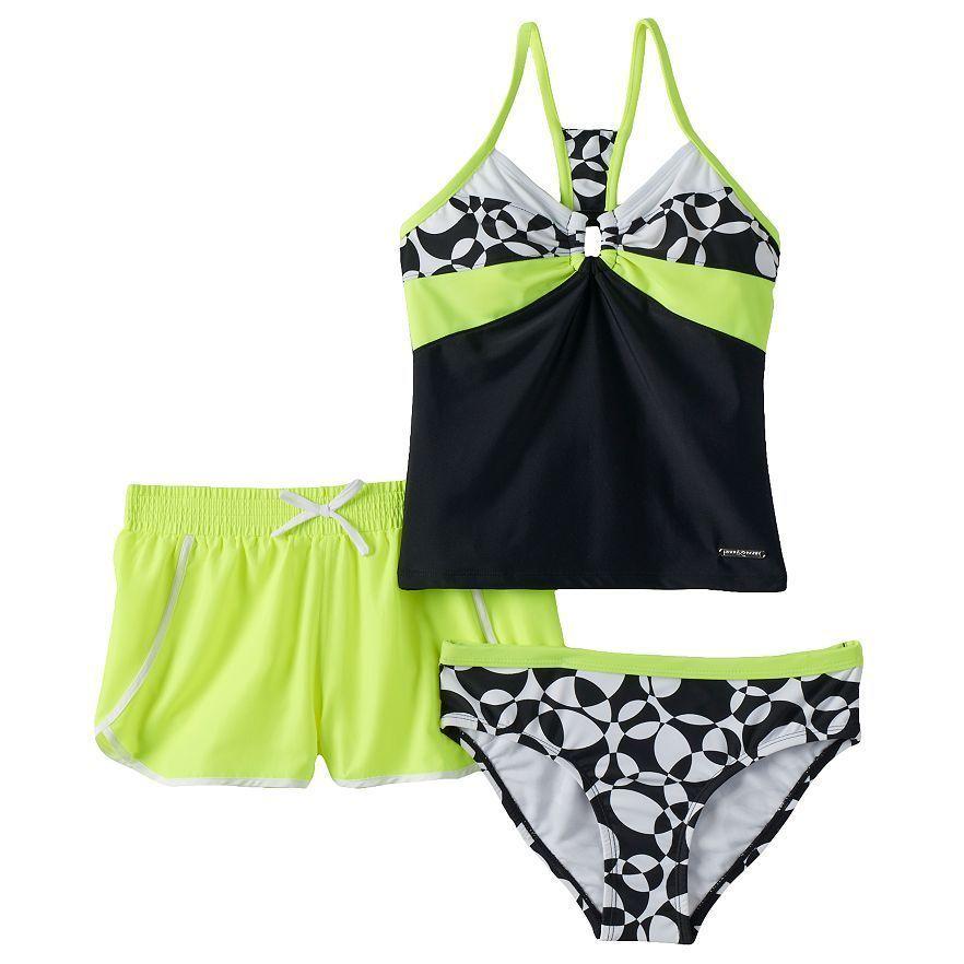 7e04e55ce6 ZeroXposur Girls 3 Pc Tankini Swimsuit Set -Size 8 NWT  ZeroXposur   TankiniSet