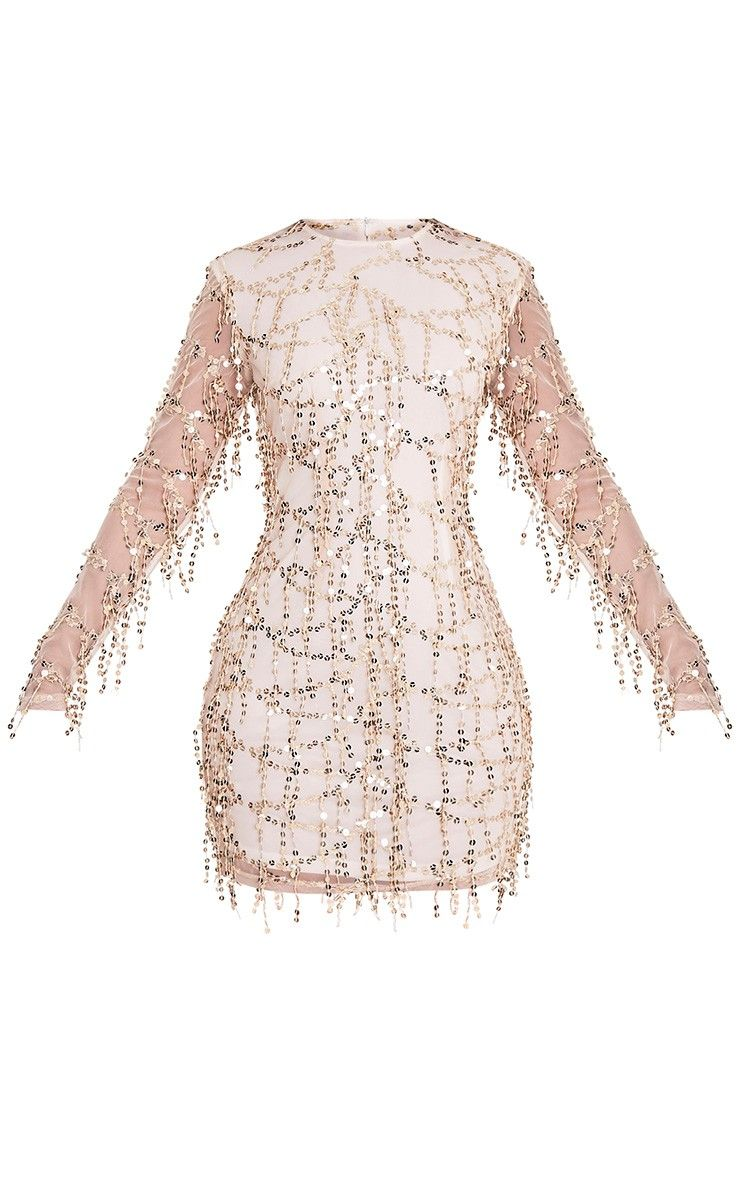 Freyana rose gold sequin detail long sleeve mini dress image