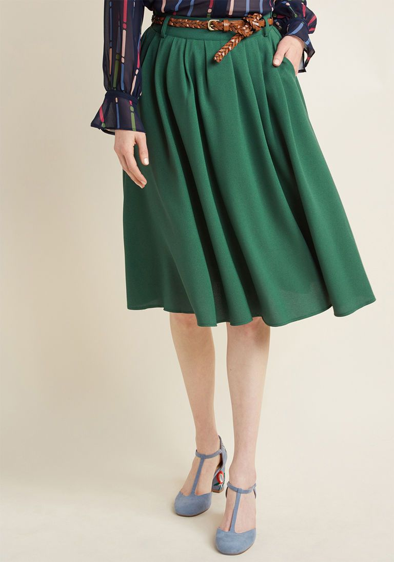 00c7853a3f0 Breathtaking Tiger Lilies Midi Skirt in Clover