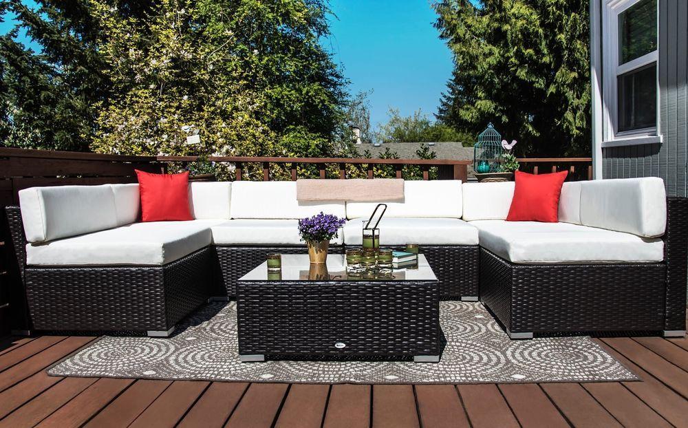 7 Piece Outdoor Rattan Sofa Set Steel Frame Cushioned Garden Patio Furniture 7pieceoutdoor