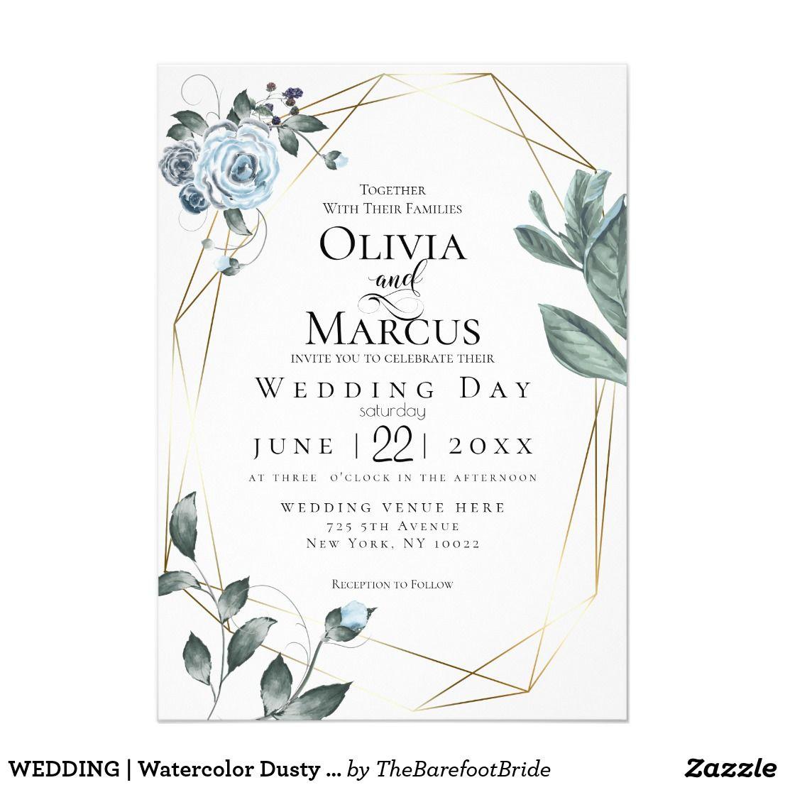 Wedding Watercolor Dusty Blue Floral Invitation Zazzle Com Floral Invitation Floral Wedding Invitations Blue Wedding Invitations