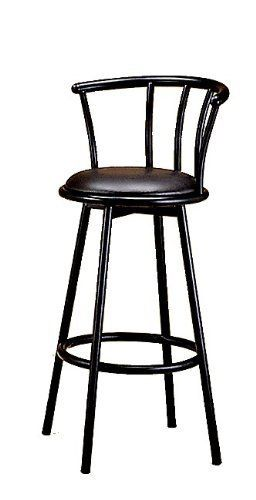 Bar Stool In Satin Black Finish Metal With Swivel Seat And Back 2