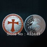 *Hot sale *KNIGHTS TEMPLAR ORANGE CROSS EDITION  COLORIZED COIN - LIMITED,10 pcs/lot