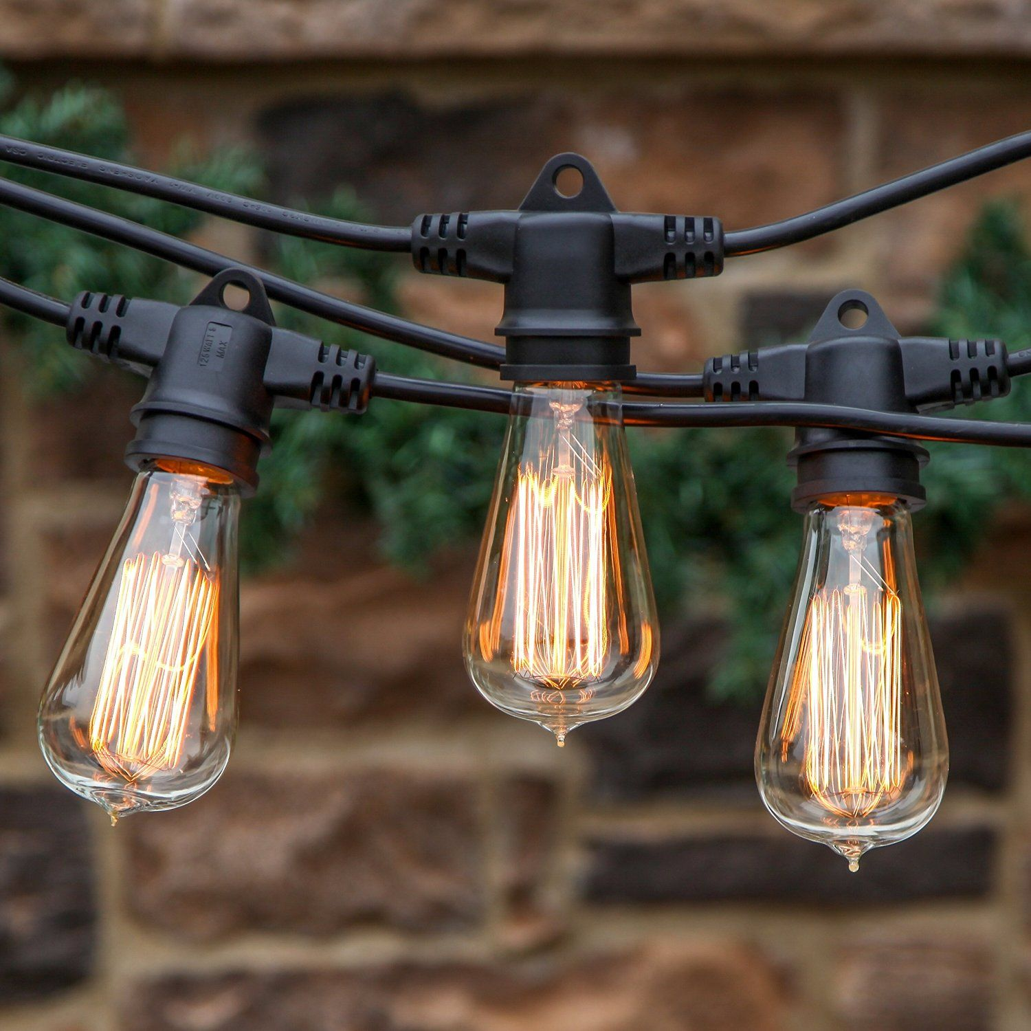 48 Ft Market Cafe Edison Vintage Bistro Weatherproof Strand for Patio Garden Porch Backyard Party Deck Yard Brightech Ambience Pro Commercial Grade Outdoor Light Strand Non Hanging Sockets Black