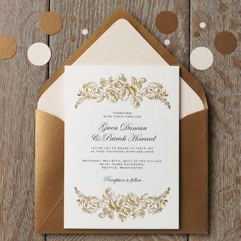foil stamped floral border wedding invitation - gwen & patrick, Wedding invitations
