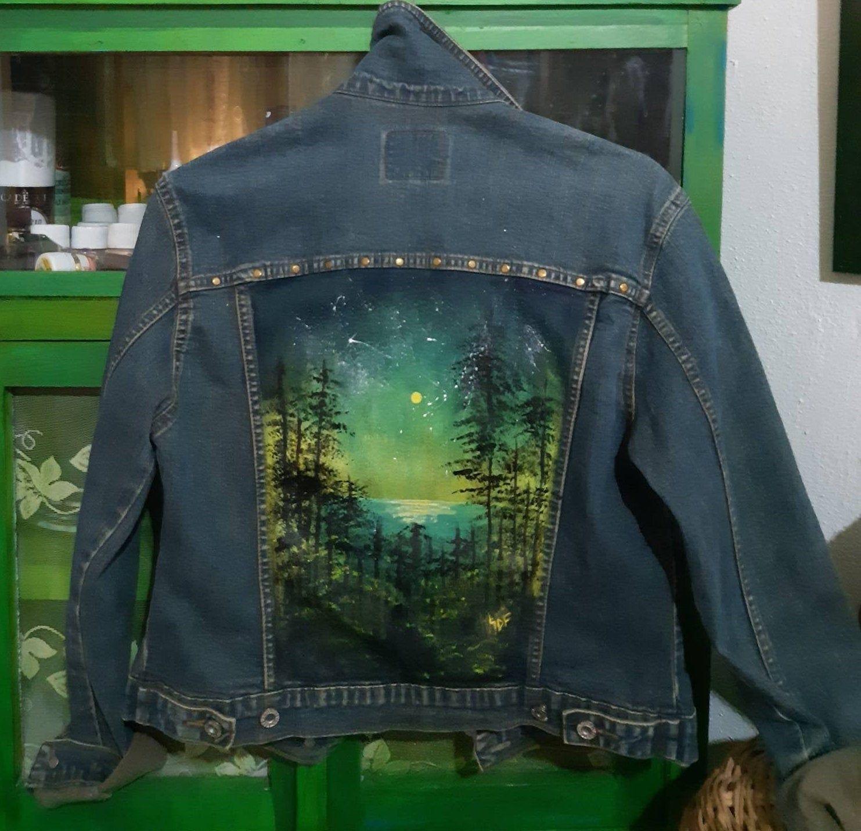 Hand Painted Denim Jacket Painted Clothing Landscape Painting On Jeans Painted Denim Jacket Hand Painted Denim Jacket Painted Denim [ 1430 x 1483 Pixel ]