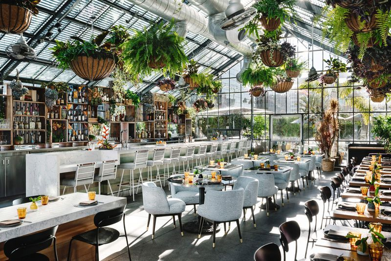 Rise Dine The Best 20 Places For Brunch In Los Angeles In 2020 Greenhouse Restaurant Los Angeles Hotels Indoor Planters