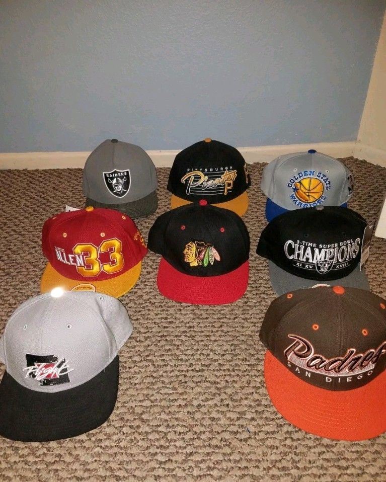 Lot Of 8 Nfl Mlb Nhl Hats Jordan #fashion #clothing #shoes