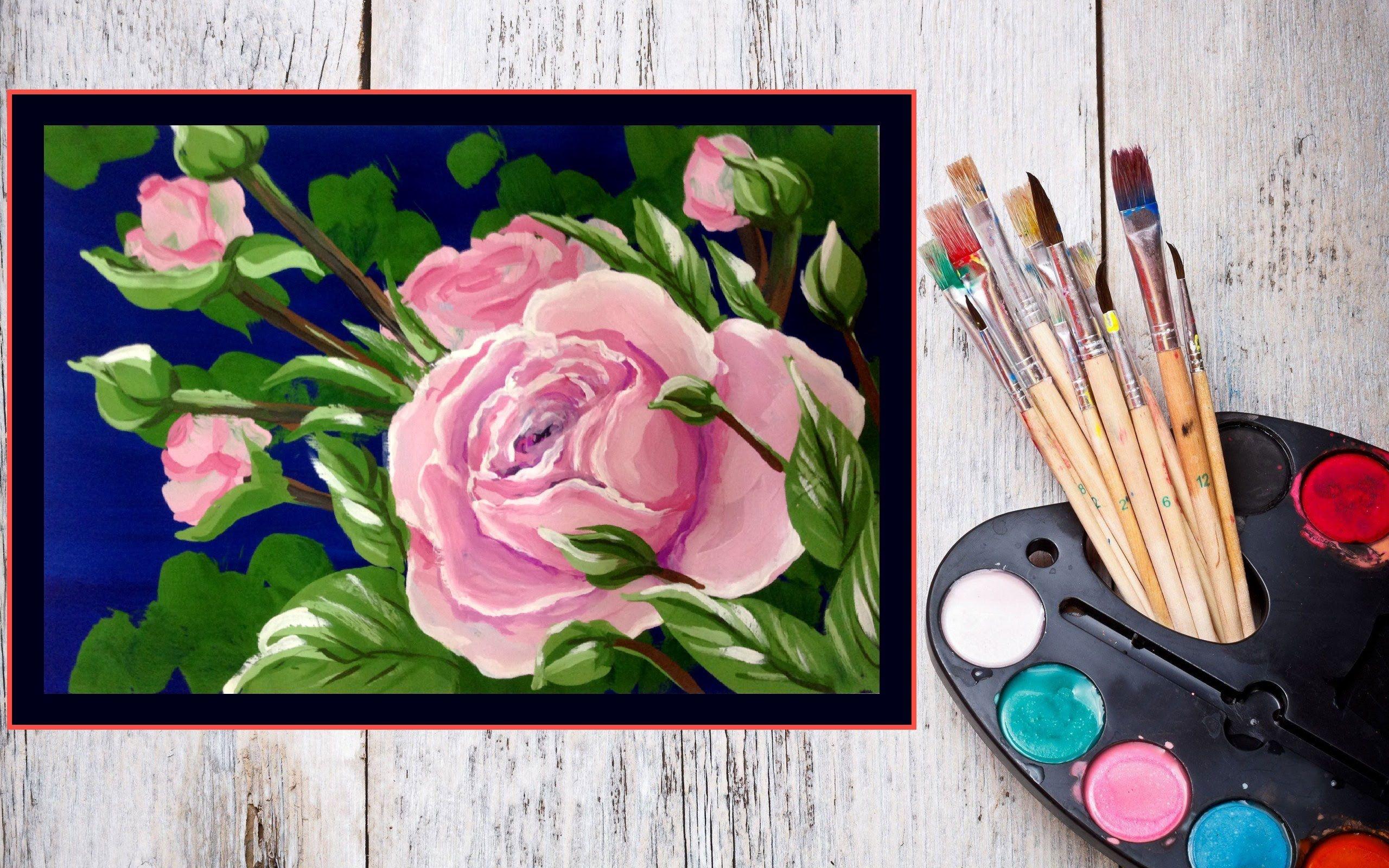 Для открытки, нарисовать картинку красками за 5 минут