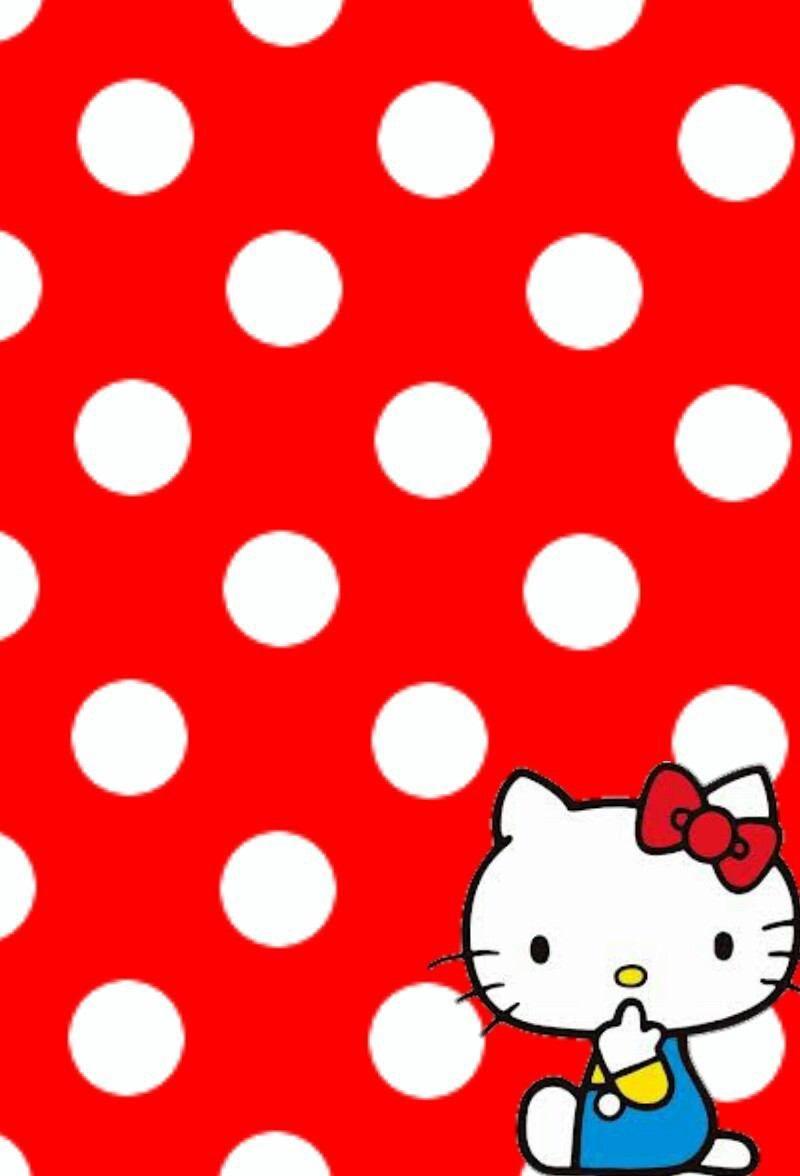 キティちゃん水玉 キティの壁紙 キティちゃん ハローキティー